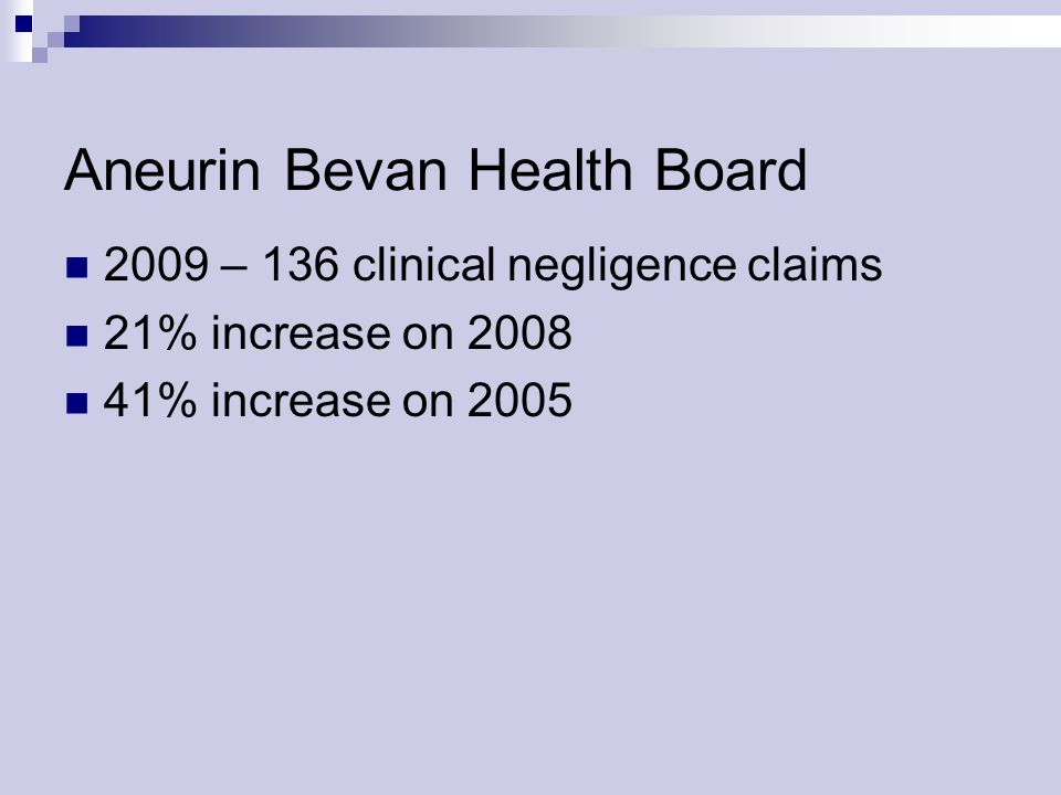 Aneurin Bevan Health Board 2009 – 136 clinical negligence claims 21% increase on % increase on 2005