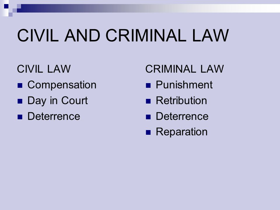 CIVIL AND CRIMINAL LAW CIVIL LAW Compensation Day in Court Deterrence CRIMINAL LAW Punishment Retribution Deterrence Reparation