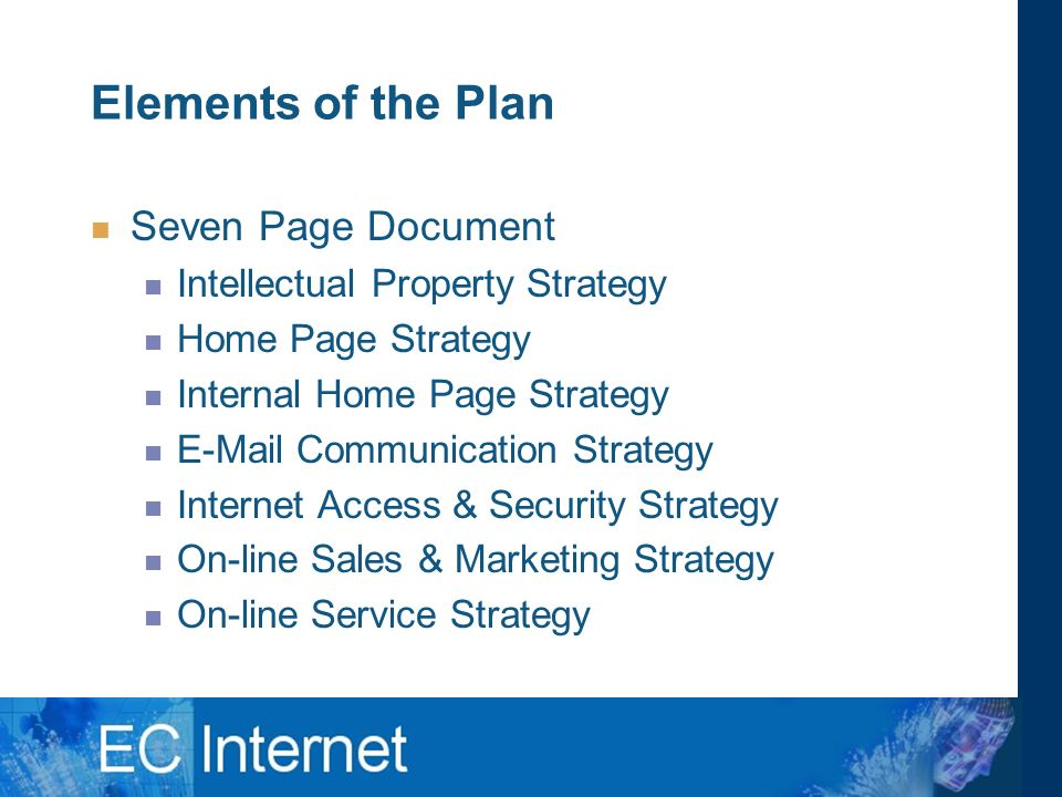 Elements of the Plan Seven Page Document Intellectual Property Strategy Home Page Strategy Internal Home Page Strategy  Communication Strategy Internet Access & Security Strategy On-line Sales & Marketing Strategy On-line Service Strategy