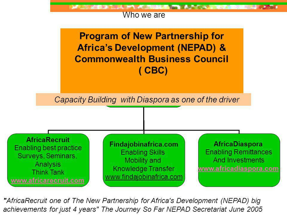 Who we are AfricaRecruit Enabling best practice Surveys, Seminars, Analysis Think Tank   Findajobinafrica.com Enabling Skills Mobility and Knowledge Transfer   AfricaDiaspora Enabling Remittances And Investments   Program of New Partnership for Africas Development (NEPAD) & Commonwealth Business Council ( CBC) Capacity Building with Diaspora as one of the driver AfricaRecruit one of The New Partnership for Africa s Development (NEPAD) big achievements for just 4 years The Journey So Far NEPAD Secretariat June 2005
