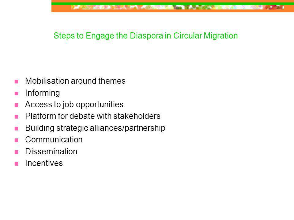 Steps to Engage the Diaspora in Circular Migration Mobilisation around themes Informing Access to job opportunities Platform for debate with stakeholders Building strategic alliances/partnership Communication Dissemination Incentives