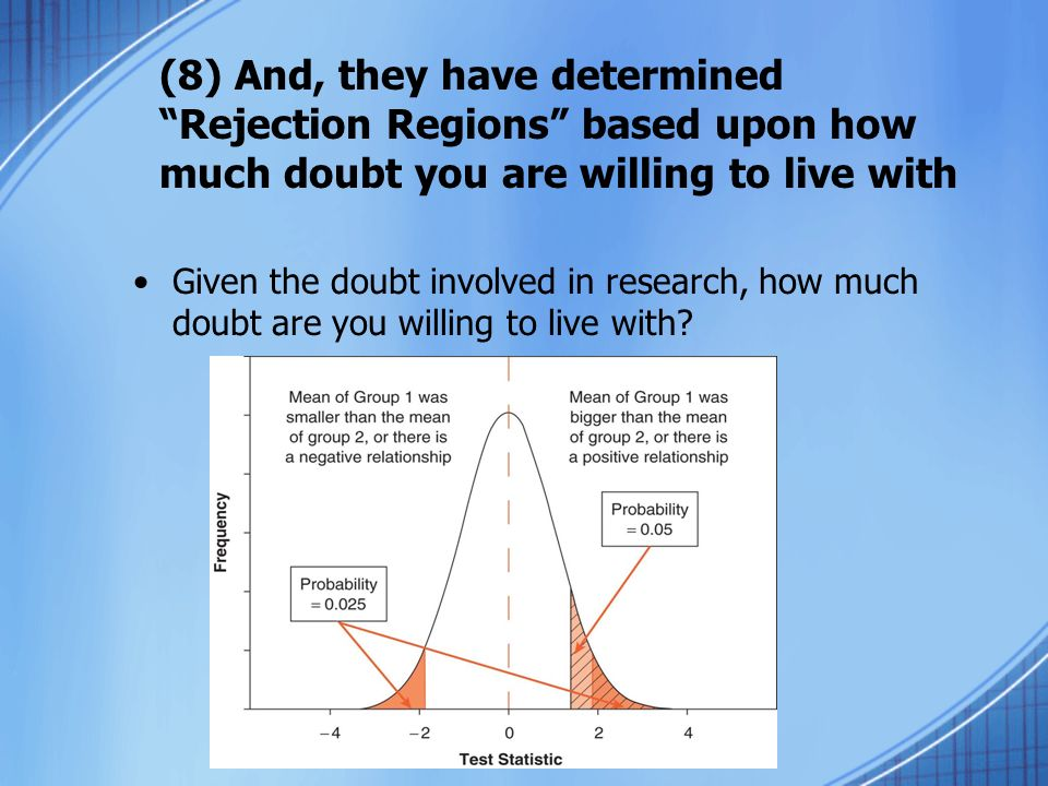 (8) And, they have determined Rejection Regions based upon how much doubt you are willing to live with Given the doubt involved in research, how much doubt are you willing to live with
