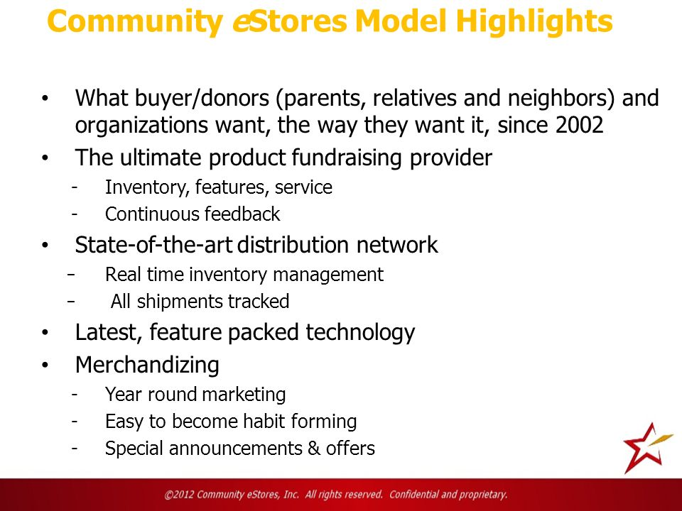 Community eStores Model Highlights What buyer/donors (parents, relatives and neighbors) and organizations want, the way they want it, since 2002 The ultimate product fundraising provider -Inventory, features, service -Continuous feedback State-of-the-art distribution network ̵Real time inventory management ̵ All shipments tracked Latest, feature packed technology Merchandizing -Year round marketing -Easy to become habit forming -Special announcements & offers