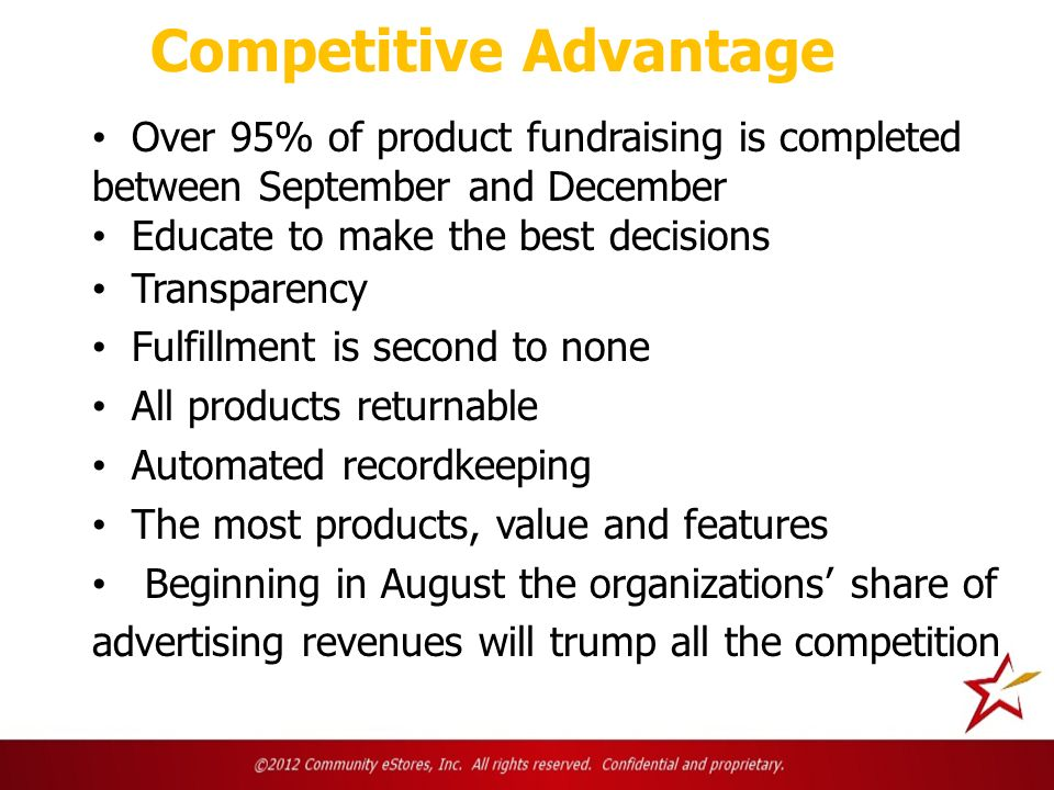 Competitive Advantage Over 95% of product fundraising is completed between September and December Educate to make the best decisions Transparency Fulfillment is second to none All products returnable Automated recordkeeping The most products, value and features Beginning in August the organizations share of advertising revenues will trump all the competition