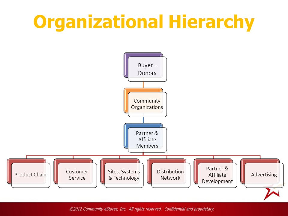 Organizational Hierarchy Buyer - Donors Community Organizations Partner & Affiliate Members Product Chain Customer Service Sites, Systems & Technology Distribution Network Partner & Affiliate Development Advertising