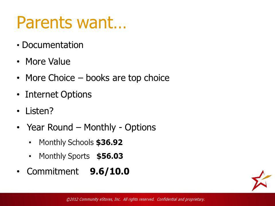 Parents want… Documentation More Value More Choice – books are top choice Internet Options Listen.