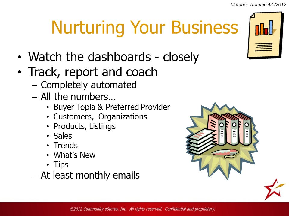 Nurturing Your Business Watch the dashboards - closely Track, report and coach – Completely automated – All the numbers… Buyer Topia & Preferred Provider Customers, Organizations Products, Listings Sales Trends Whats New Tips – At least monthly  s Member Training 4/5/2012