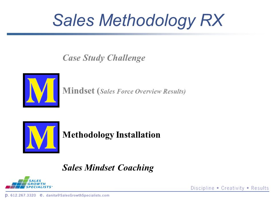 Sales Methodology RX Case Study Challenge Mindset ( Sales Force Overview Results) Methodology Installation Sales Mindset Coaching