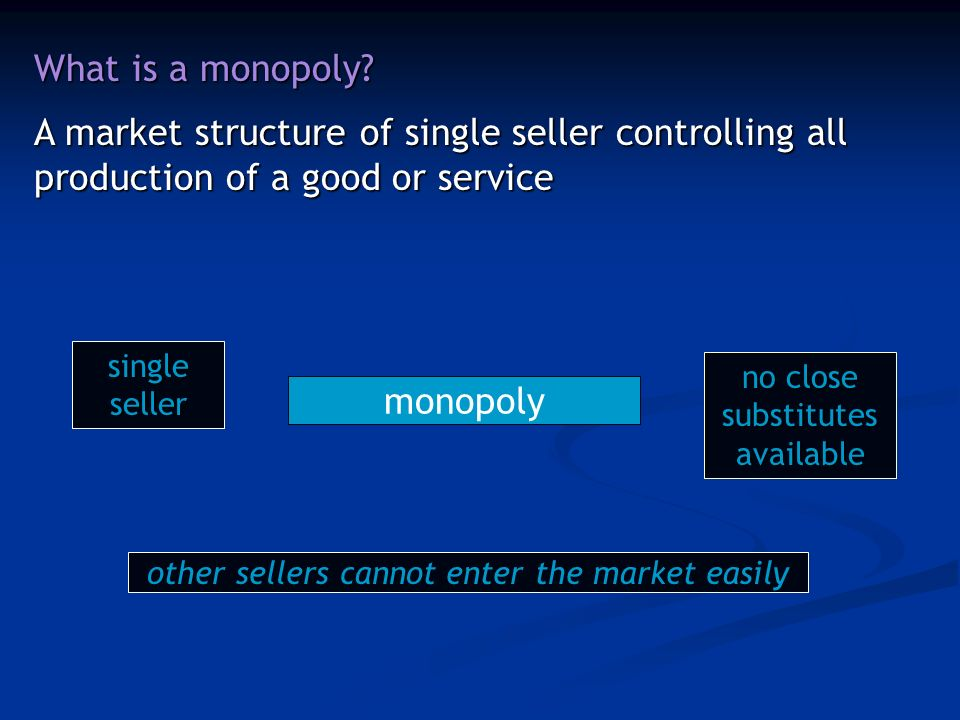 What is a monopoly.