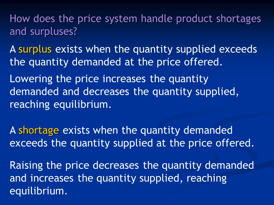 How does the price system handle product shortages and surpluses.