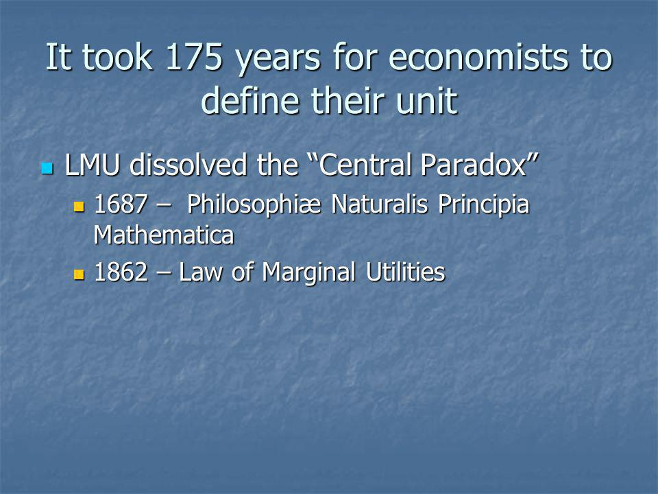 It took 175 years for economists to define their unit LMU dissolved the Central Paradox LMU dissolved the Central Paradox 1687 – Philosophiæ Naturalis Principia Mathematica 1687 – Philosophiæ Naturalis Principia Mathematica 1862 – Law of Marginal Utilities 1862 – Law of Marginal Utilities