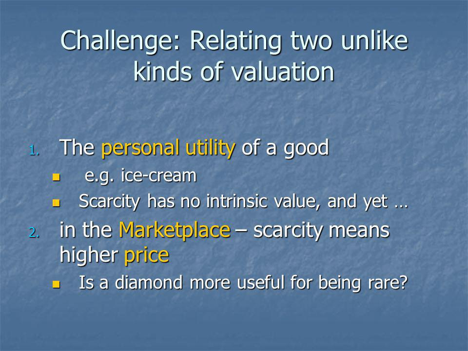 Challenge: Relating two unlike kinds of valuation 1.