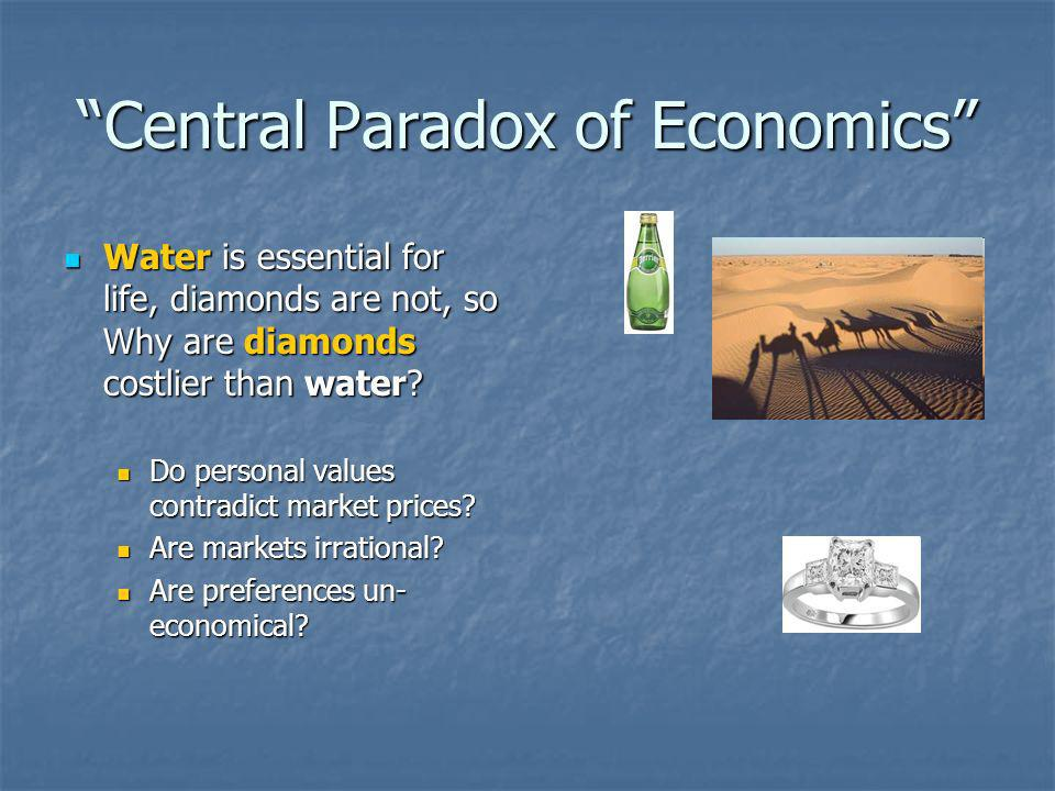 Central Paradox of Economics Water is essential for life, diamonds are not, so Why are diamonds costlier than water.