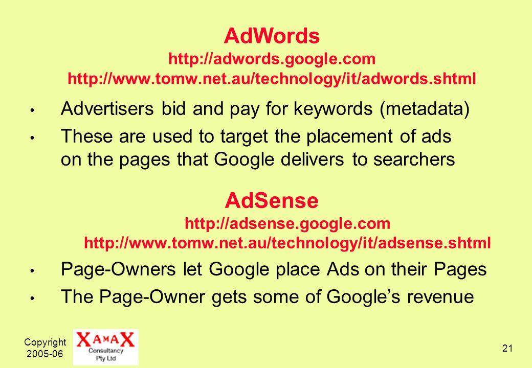 Copyright 2005-06 21 AdWords http://adwords.google.com http://www.tomw.net.au/technology/it/adwords.shtml Advertisers bid and pay for keywords (metadata) These are used to target the placement of ads on the pages that Google delivers to searchers AdSense http://adsense.google.com http://www.tomw.net.au/technology/it/adsense.shtml Page-Owners let Google place Ads on their Pages The Page-Owner gets some of Googles revenue