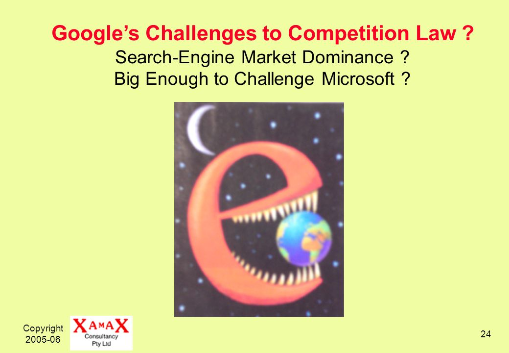 Copyright 2005-06 24 Googles Challenges to Competition Law .