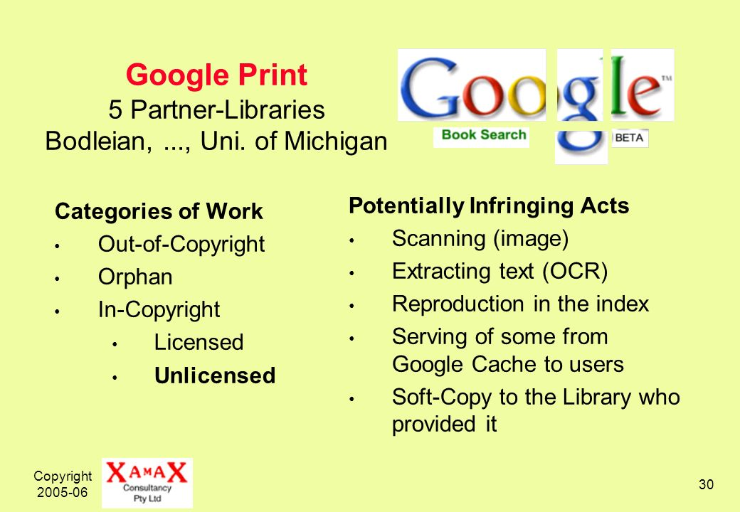 Copyright 2005-06 30 Google Print 5 Partner-Libraries Bodleian,..., Uni.