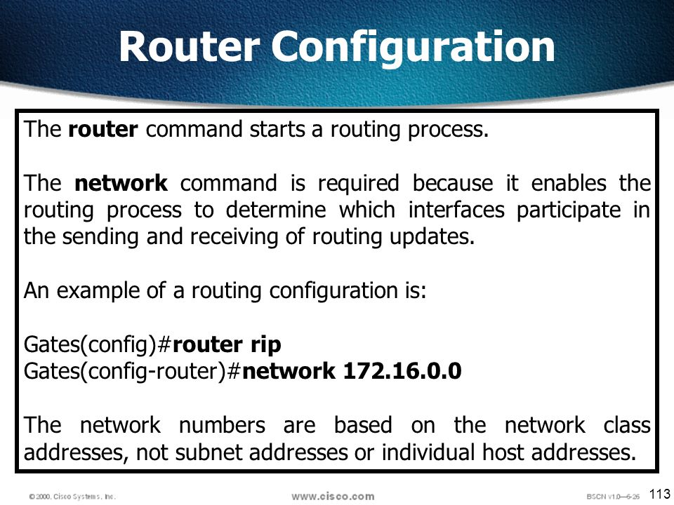 113 Router Configuration The router command starts a routing process.