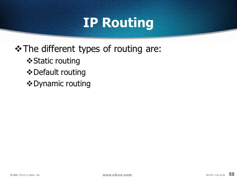 68 IP Routing The different types of routing are: Static routing Default routing Dynamic routing