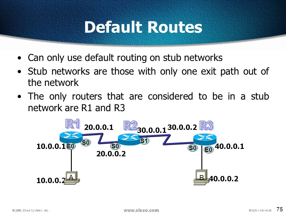 75 Default Routes Can only use default routing on stub networks Stub networks are those with only one exit path out of the network The only routers that are considered to be in a stub network are R1 and R3 S0 E A B S0 S