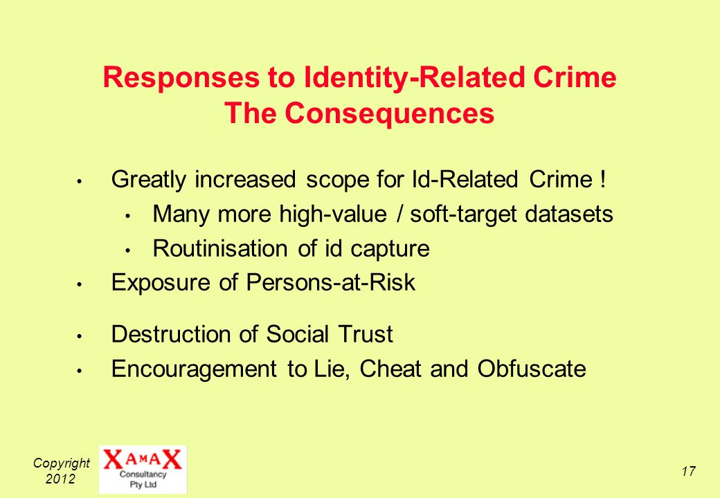 Copyright Responses to Identity-Related Crime The Consequences Greatly increased scope for Id-Related Crime .