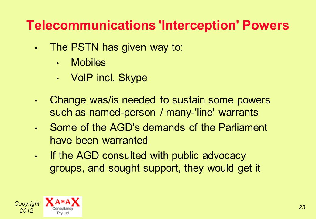 Copyright Telecommunications Interception Powers The PSTN has given way to: Mobiles VoIP incl.
