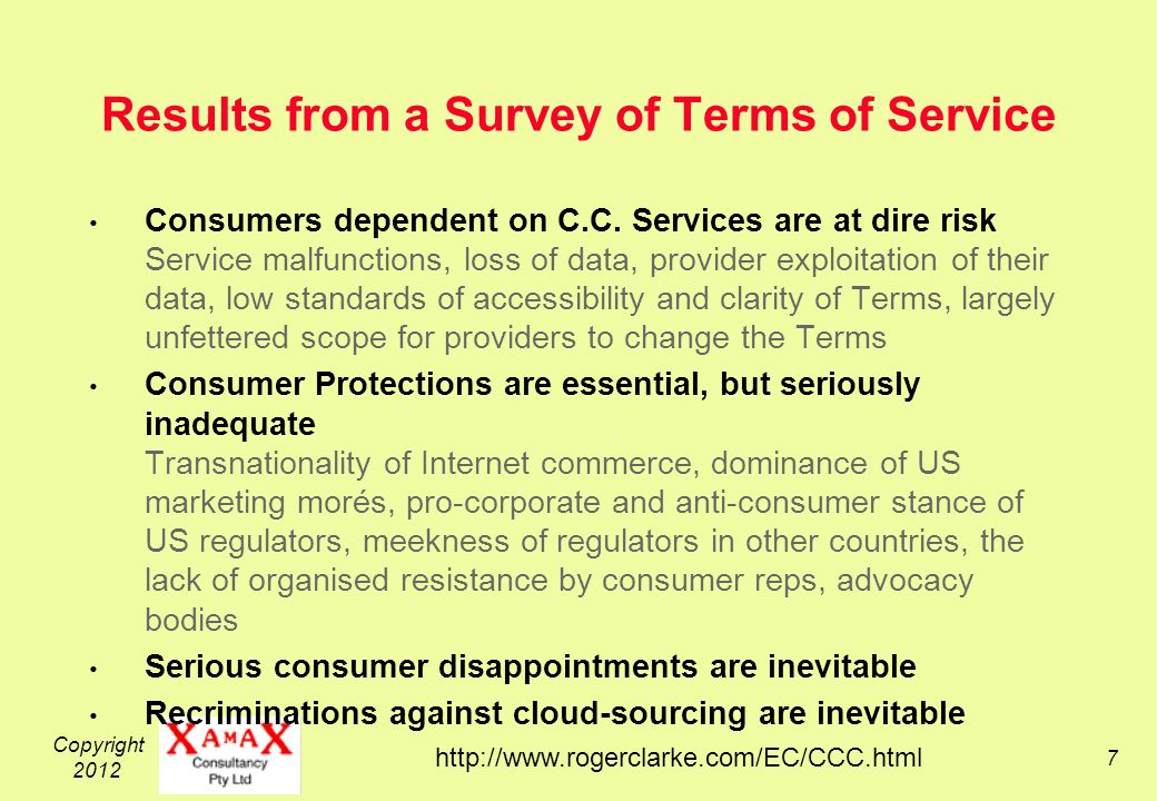 Copyright Results from a Survey of Terms of Service Consumers dependent on C.C.
