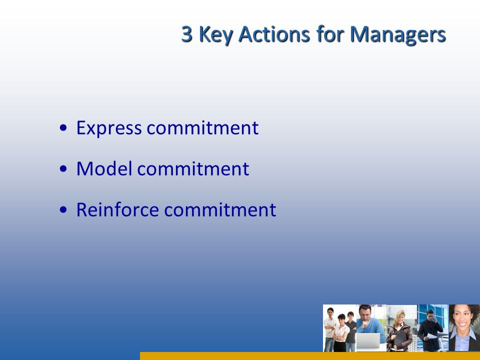 Express commitment Model commitment Reinforce commitment 3 Key Actions for Managers