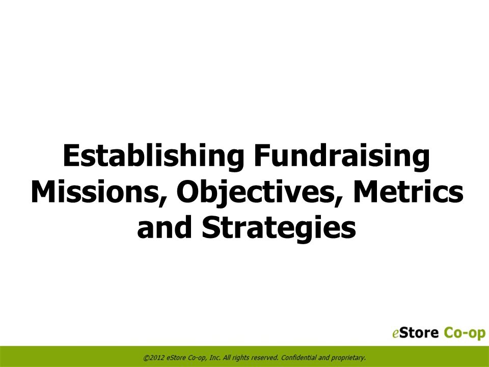 Establishing Fundraising Missions, Objectives, Metrics and Strategies