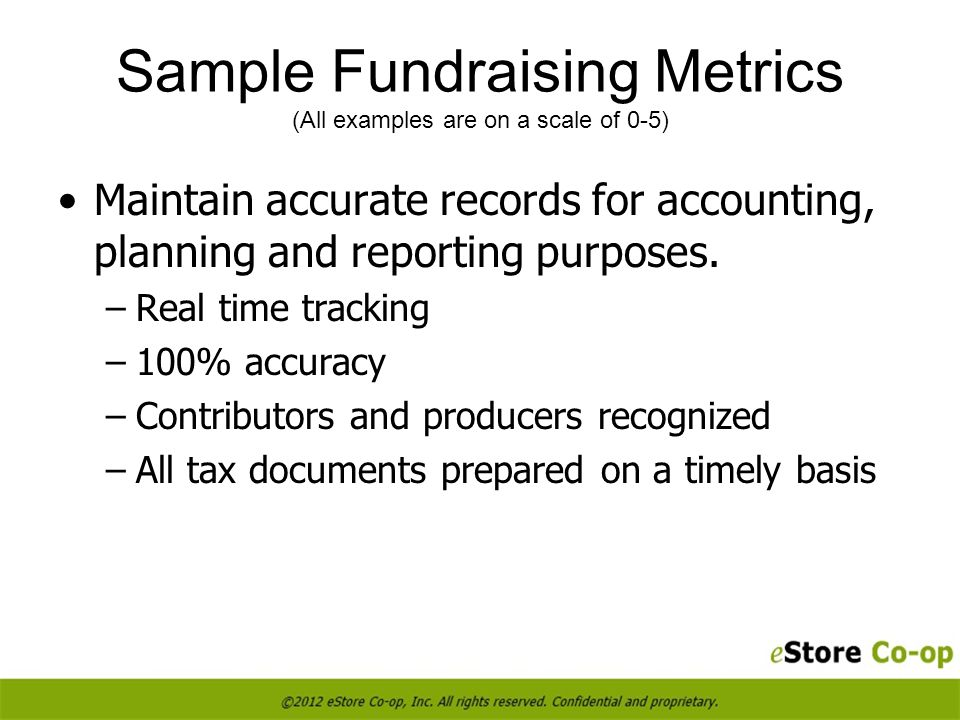 Maintain accurate records for accounting, planning and reporting purposes.