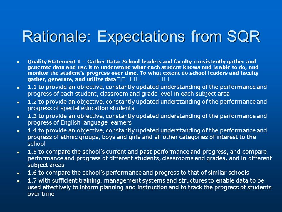 Rationale: Expectations from SQR Quality Statement 1 – Gather Data: School leaders and faculty consistently gather and generate data and use it to understand what each student knows and is able to do, and monitor the students progress over time.