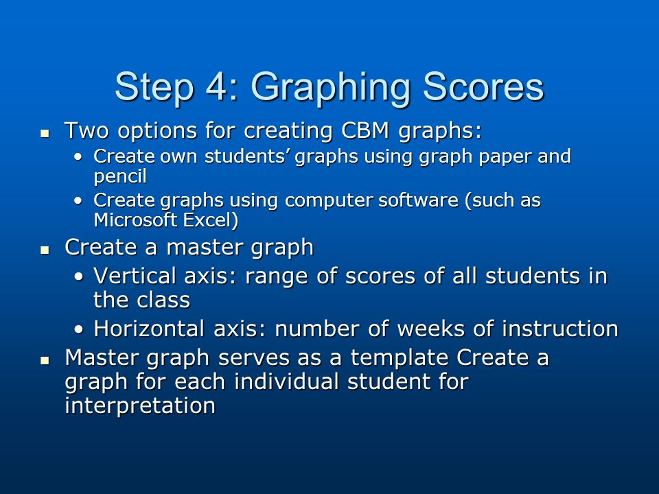 Step 4: Graphing Scores Two options for creating CBM graphs: Two options for creating CBM graphs: Create own students graphs using graph paper and pencilCreate own students graphs using graph paper and pencil Create graphs using computer software (such as Microsoft Excel)Create graphs using computer software (such as Microsoft Excel) Create a master graph Create a master graph Vertical axis: range of scores of all students in the classVertical axis: range of scores of all students in the class Horizontal axis: number of weeks of instructionHorizontal axis: number of weeks of instruction Master graph serves as a template Create a graph for each individual student for interpretation Master graph serves as a template Create a graph for each individual student for interpretation