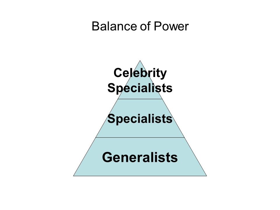 Balance of Power Celebrity Specialists Generalists