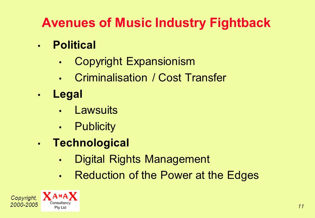 Copyright, 2000-2005 11 Avenues of Music Industry Fightback Political Copyright Expansionism Criminalisation / Cost Transfer Legal Lawsuits Publicity Technological Digital Rights Management Reduction of the Power at the Edges