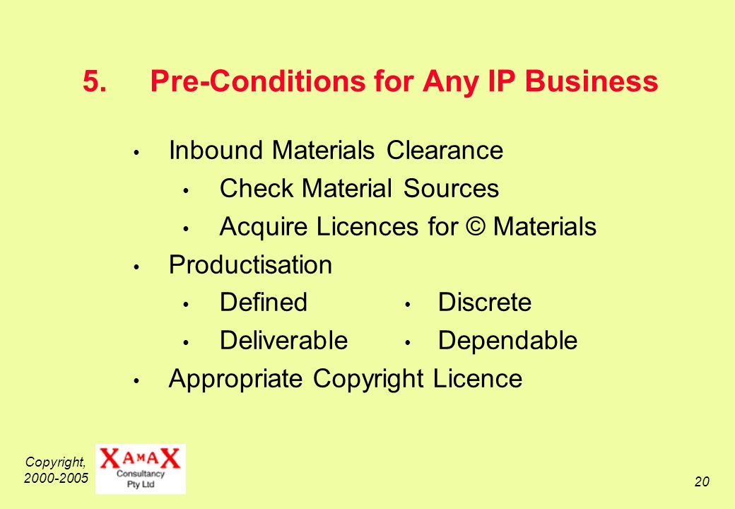 Copyright, 2000-2005 20 5.Pre-Conditions for Any IP Business Inbound Materials Clearance Check Material Sources Acquire Licences for © Materials Productisation Defined Discrete Deliverable Dependable Appropriate Copyright Licence