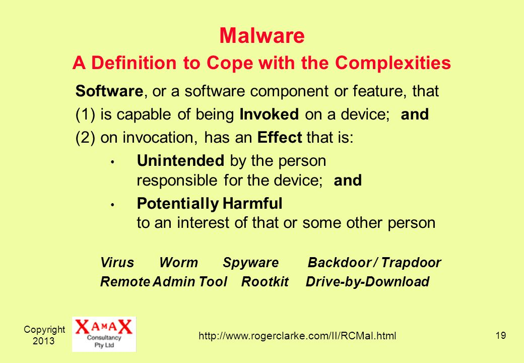 Copyright Malware A Definition to Cope with the Complexities Software, or a software component or feature, that (1)is capable of being Invoked on a device; and (2)on invocation, has an Effect that is: Unintended by the person responsible for the device; and Potentially Harmful to an interest of that or some other person   Virus Worm Spyware Backdoor / Trapdoor Remote Admin Tool Rootkit Drive-by-Download