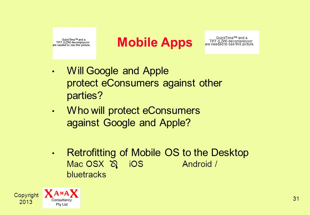 Copyright Mobile Apps Will Google and Apple protect eConsumers against other parties.