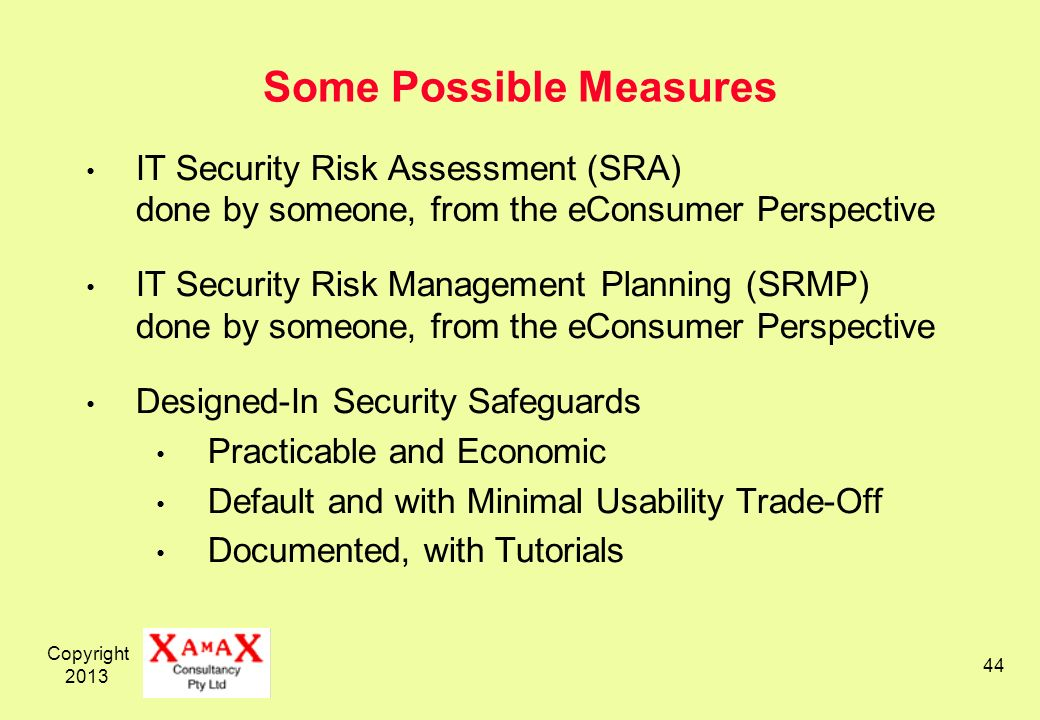 Copyright Some Possible Measures IT Security Risk Assessment (SRA) done by someone, from the eConsumer Perspective IT Security Risk Management Planning (SRMP) done by someone, from the eConsumer Perspective Designed-In Security Safeguards Practicable and Economic Default and with Minimal Usability Trade-Off Documented, with Tutorials