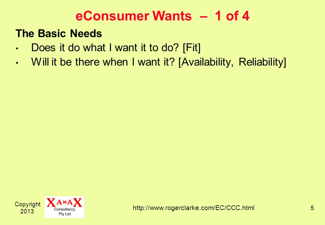 Copyright eConsumer Wants – 1 of 4 The Basic Needs Does it do what I want it to do.