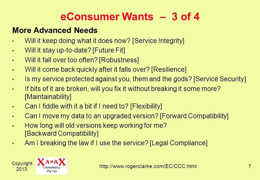 Copyright eConsumer Wants – 3 of 4 More Advanced Needs Will it keep doing what it does now.