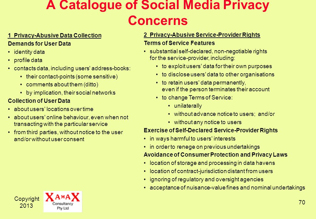 Copyright A Catalogue of Social Media Privacy Concerns 1Privacy-Abusive Data Collection Demands for User Data identity data profile data contacts data, including users address-books: their contact-points (some sensitive) comments about them (ditto) by implication, their social networks Collection of User Data about users locations over time about users online behaviour, even when not transacting with the particular service from third parties, without notice to the user and/or without user consent 2Privacy-Abusive Service-Provider Rights Terms of Service Features substantial self-declared, non-negotiable rights for the service-provider, including: to exploit users data for their own purposes to disclose users data to other organisations to retain users data permanently, even if the person terminates their account to change Terms of Service: unilaterally without advance notice to users; and/or without any notice to users Exercise of Self-Declared Service-Provider Rights in ways harmful to users interests in order to renege on previous undertakings Avoidance of Consumer Protection and Privacy Laws location of storage and processing in data havens location of contract-jurisdiction distant from users ignoring of regulatory and oversight agencies acceptance of nuisance-value fines and nominal undertakings