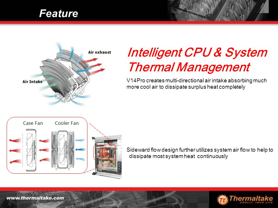 Feature Sideward flow design further utilizes system air flow to help to dissipate most system heat continuously Intelligent CPU & System Thermal Management Cooler FanCase Fan V14Pro creates multi-directional air intake absorbing much more cool air to dissipate surplus heat completely
