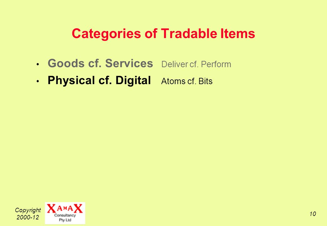 Copyright 2000-12 10 Categories of Tradable Items Goods cf.