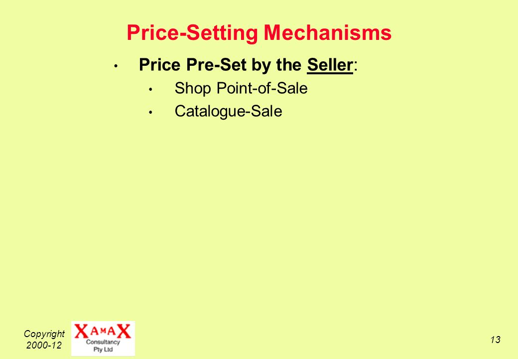 Copyright 2000-12 13 Price-Setting Mechanisms Price Pre-Set by the Seller: Shop Point-of-Sale Catalogue-Sale