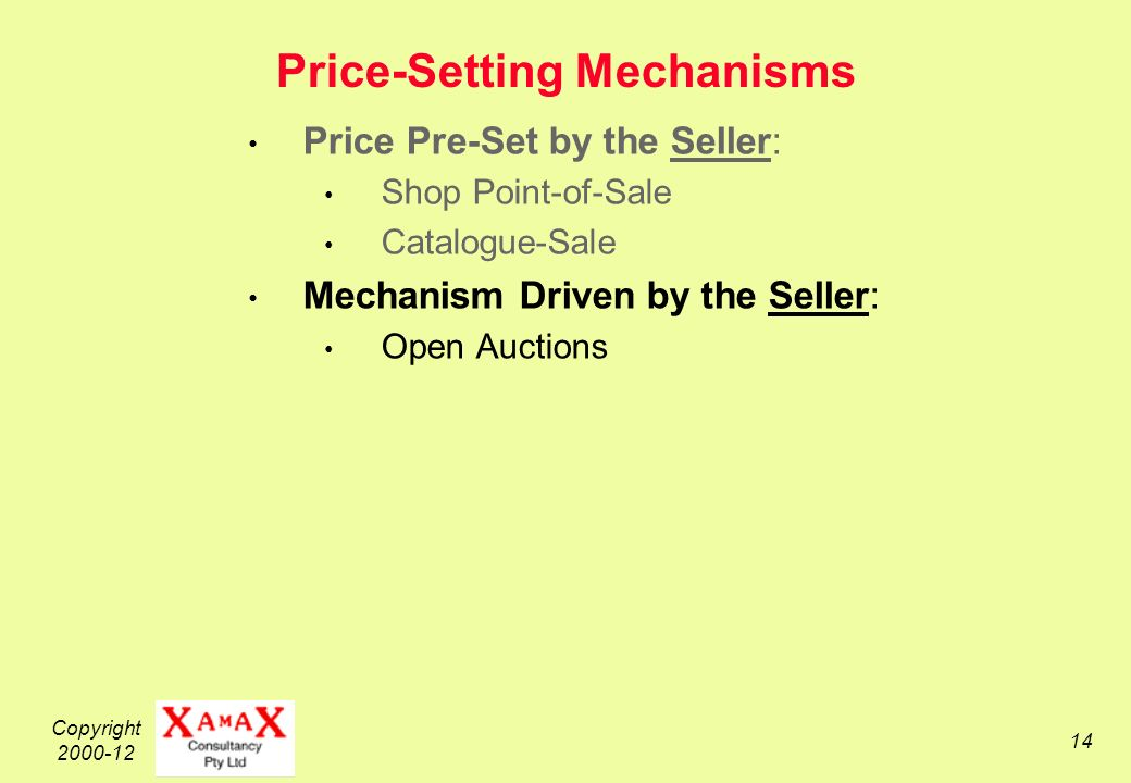 Copyright 2000-12 14 Price-Setting Mechanisms Price Pre-Set by the Seller: Shop Point-of-Sale Catalogue-Sale Mechanism Driven by the Seller: Open Auctions