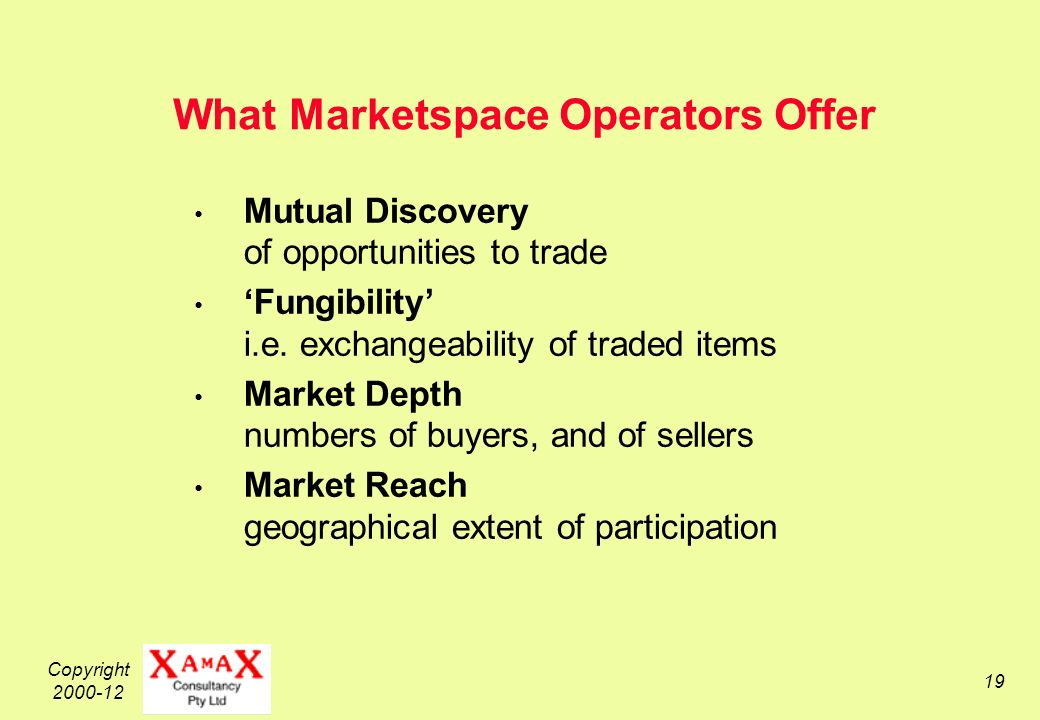 Copyright 2000-12 19 What Marketspace Operators Offer Mutual Discovery of opportunities to trade Fungibility i.e.