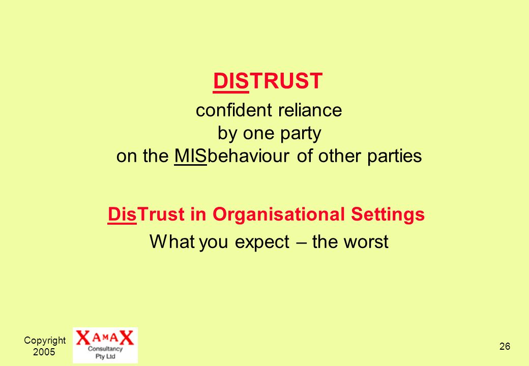 Copyright 2005 26 DISTRUST confident reliance by one party on the MISbehaviour of other parties DisTrust in Organisational Settings What you expect – the worst