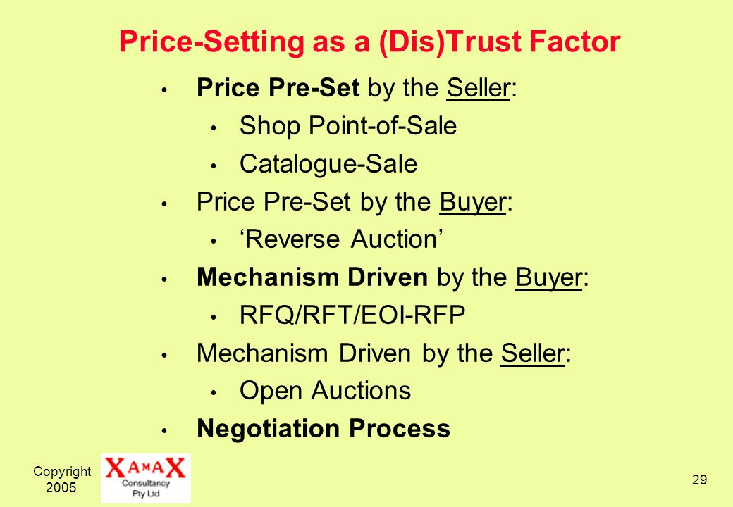Copyright 2005 29 Price-Setting as a (Dis)Trust Factor Price Pre-Set by the Seller: Shop Point-of-Sale Catalogue-Sale Price Pre-Set by the Buyer: Reverse Auction Mechanism Driven by the Buyer: RFQ/RFT/EOI-RFP Mechanism Driven by the Seller: Open Auctions Negotiation Process