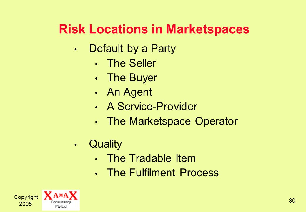 Copyright 2005 30 Risk Locations in Marketspaces Default by a Party The Seller The Buyer An Agent A Service-Provider The Marketspace Operator Quality The Tradable Item The Fulfilment Process