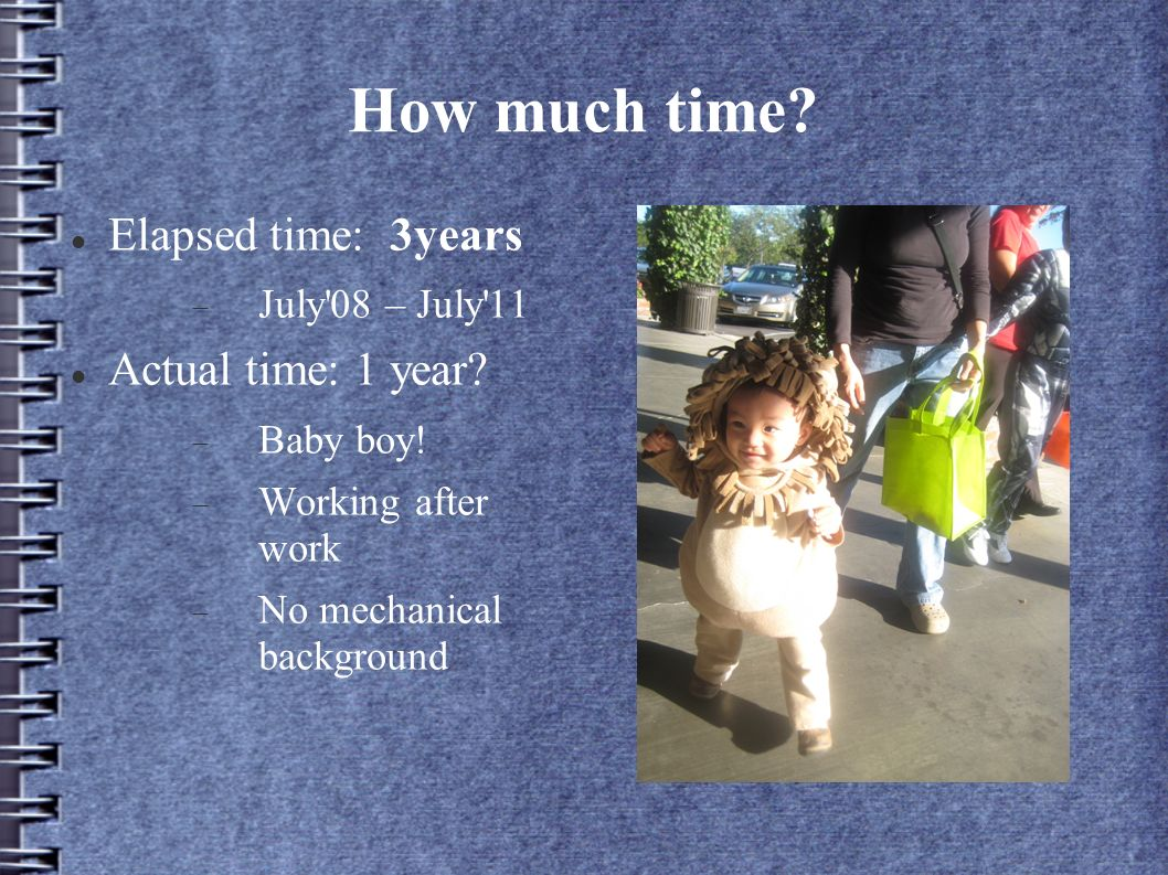 How much time. Elapsed time: 3years July 08 – July 11 Actual time: 1 year.