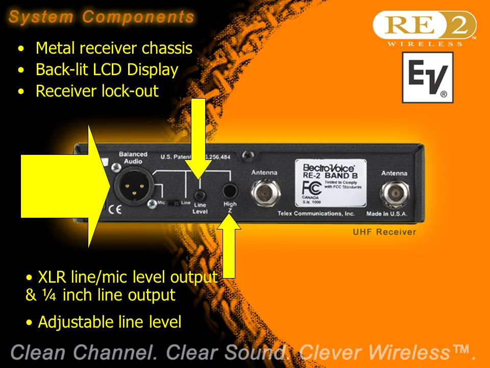 Wireless Basics 102 8/06/04 Metal receiver chassis Back-lit LCD Display Receiver lock-out XLR line/mic level output & ¼ inch line output Adjustable line level